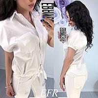 Женская белая рубашка - блузка на поясе (S-XL р) 77П5187_1