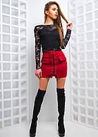 Комплект из юбки со шнуровкой и гипюровым топом