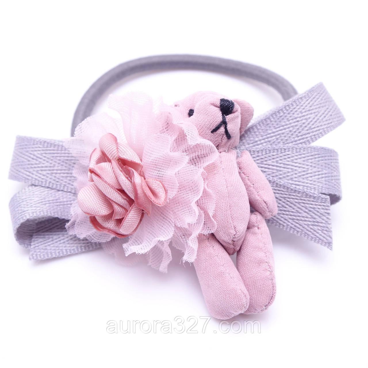 """Резинка для волос """"Мишка с цветком и бантиком"""""""