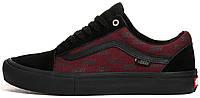 Кеды мужские Vans Old Skool Pro Port Royale / Black Bordo  бордовые с черным