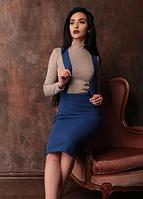 Женская миди юбка, удлиненная на бретелях. Юбка на бретелях. Размеры норма и батал, разные цвета., фото 1