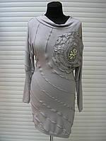 Платье туника облегающее с камнями нарядное, платье праздничное, трикотажное