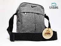 Мужская сумка через плече спортивного типа Nilke реплика люкс качества Cветло-серая