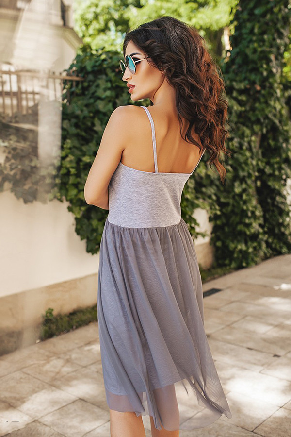 (S, M) Стильне сіре універсальне плаття Ernely