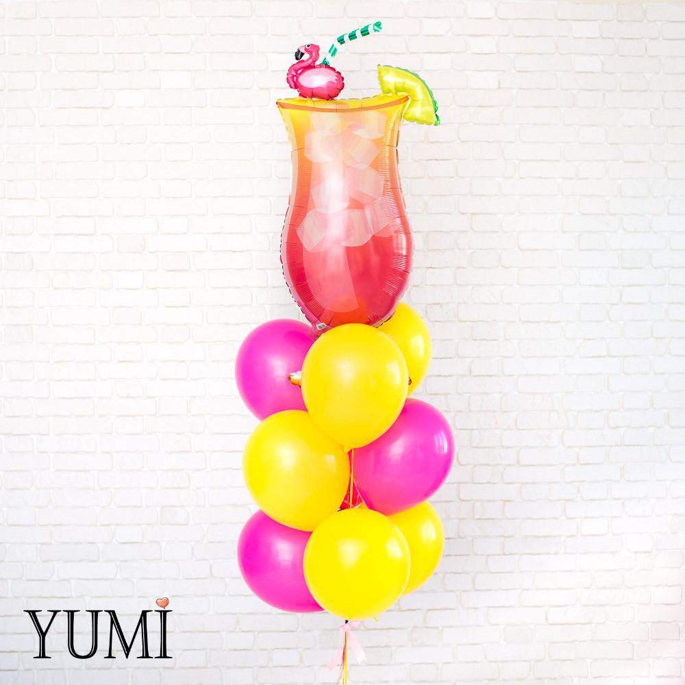 Яркая композиция из 10 гелиевых шариков для подруги