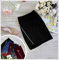 Женская мини юбка с молнией, юбка на молнии - тренд сезона. Размеры норма, разные цвета., фото 1