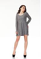 Платье трикотажное длинное. Модель П116_черный трикотаж., фото 1