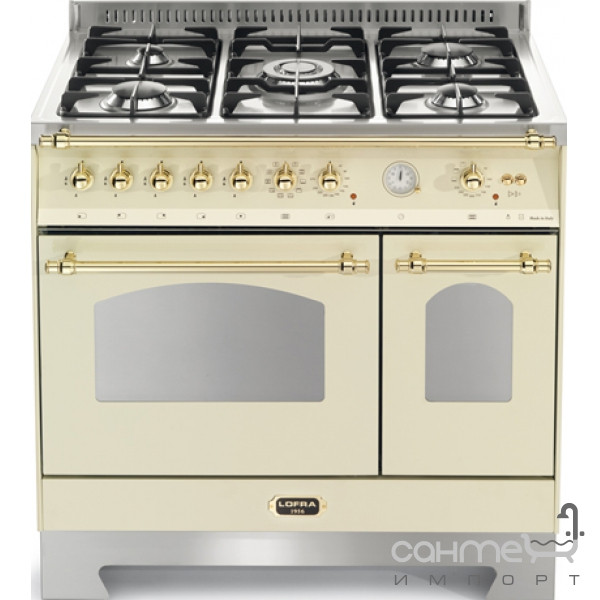 Кухонные плиты Lofra Газовая плита, 2 электрические духовки Lofra Dolcevita 90 Double Oven RBID96MFTE/Ci WHITE IVORY/BRASS