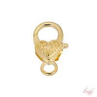 Застежка карабин 27х14мм коготь омара с рисунком в виде сердца золото для рукоделия