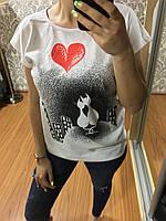 Женская футболка, модель 2018, Турция, Кошки