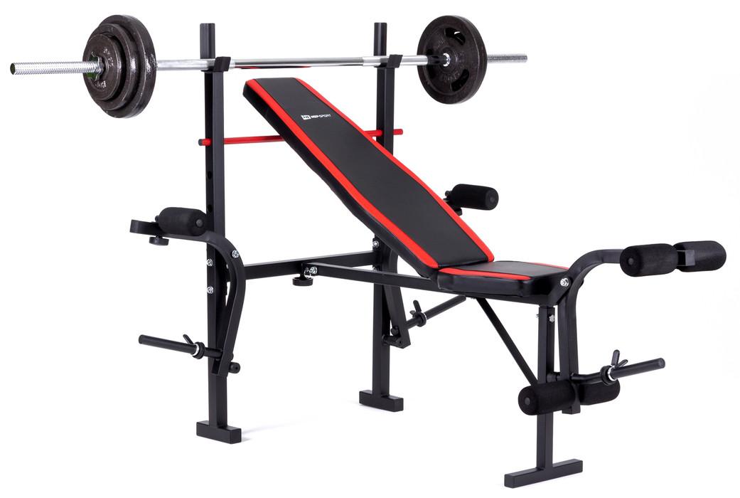 Набор Hop-Sport Strong штанга и гантели 129 кг со скамьей HS-1070