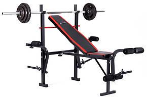 Набор Hop-Sport Strong штанга и гантели 129 кг со скамьей HS-1070 , фото 2