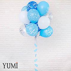 Связка: 6 голубых шаров Спасибо за сына, 5 белых, 4 шара с конфетти и гирлянда Голубая бутылочка