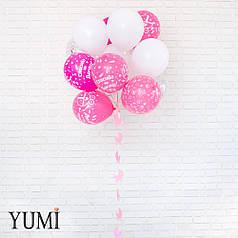 Связка: 6 розовых шаров Спасибо за дочь, 5 белых, 4 шара с конфетти и гирлянда Розовая коляска