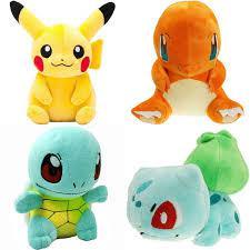 Іграшки Покемони Комплект м'яких іграшок Покемонів Пікачу, Бульбазавр, Сквиртл і Чармандер, комплект