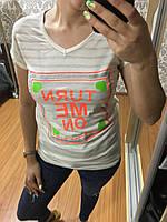 Полосатая футболка с надписью, Турция, хлопок 100%