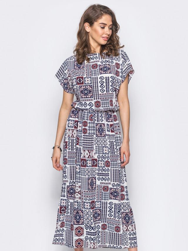 de31c40cc29 Удобное платье в пол с коротким рукавом. Талия на резинке. Дополнено  изделие разрезами по бокам. Застежек не предусмотрено. Длина по спинке -  137 см  ...