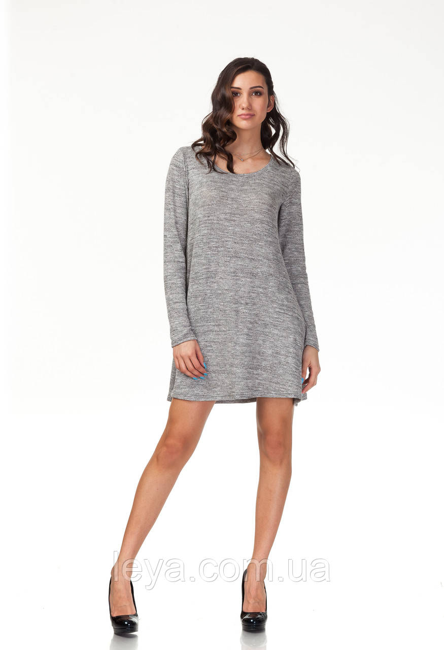 Платье трикотажное длинное. Модель П116_серый трикотаж.