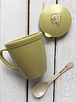 Детская эко чашка + крышка + ложка зеленая Youkejia bowl