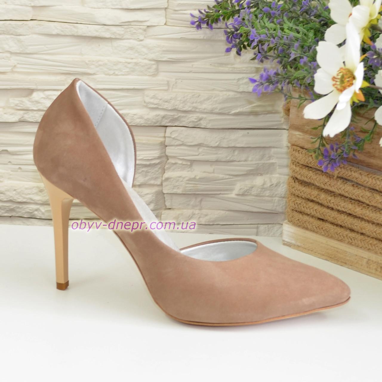 Жіночі туфлі на шпильці, бежевий нубук