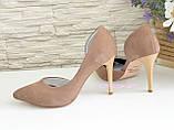 Жіночі туфлі на шпильці, бежевий нубук, фото 3
