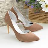 Жіночі туфлі на шпильці, бежевий нубук, фото 4
