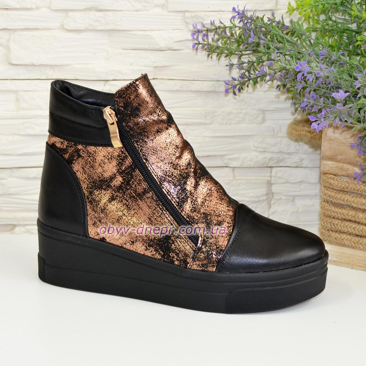 Женские зимние ботинки на платформе, натуральная кожа и замша