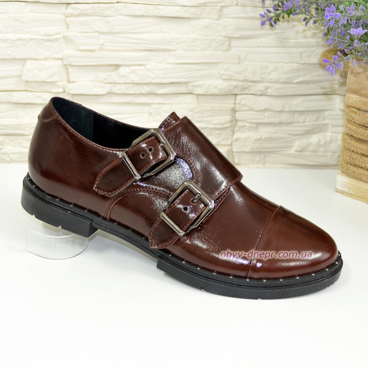 Женские коричневые туфли, натуральная кожа