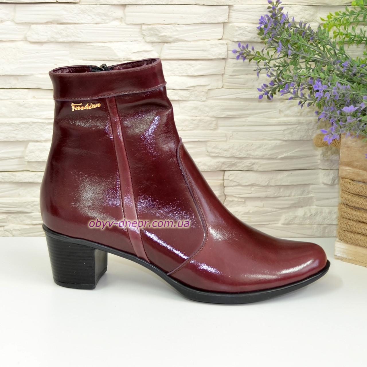 Женские зимние ботинки на невысоком каблуке, цвет бордо, фото 1