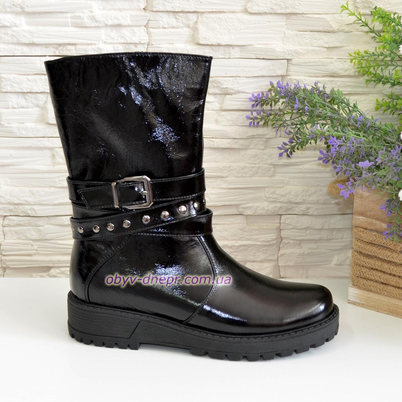Ботинки лаковые женские зимние на утолщенной подошве, фото 1