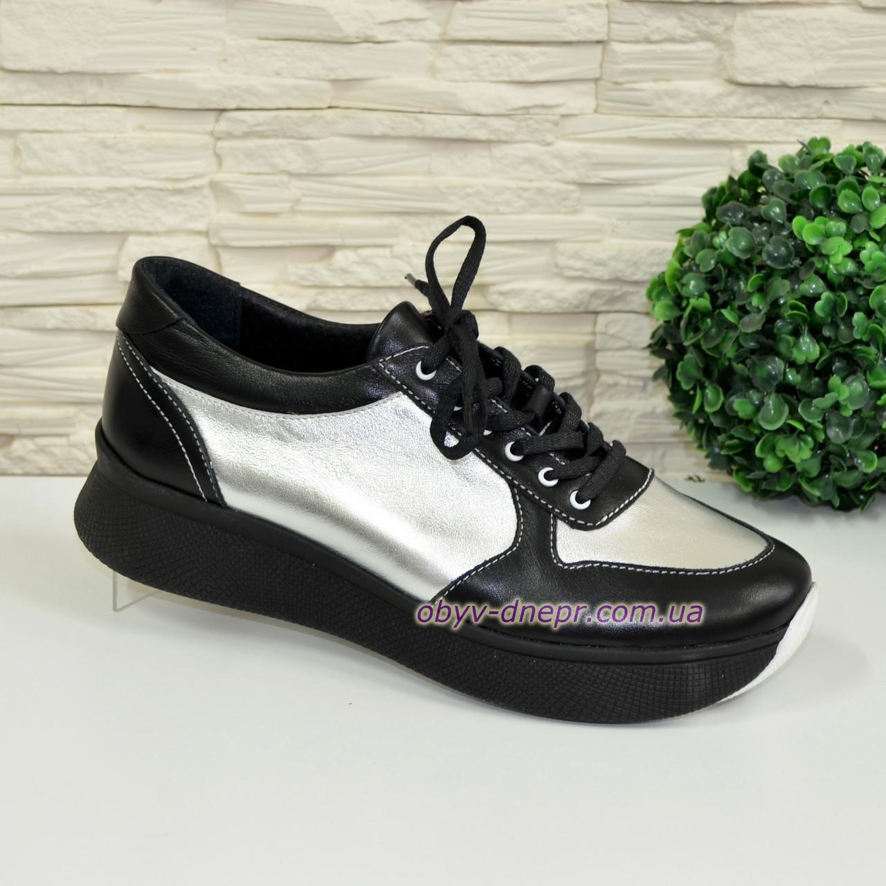 Стильные женские кроссовки на шнуровке, цвет черный/серебро, фото 1