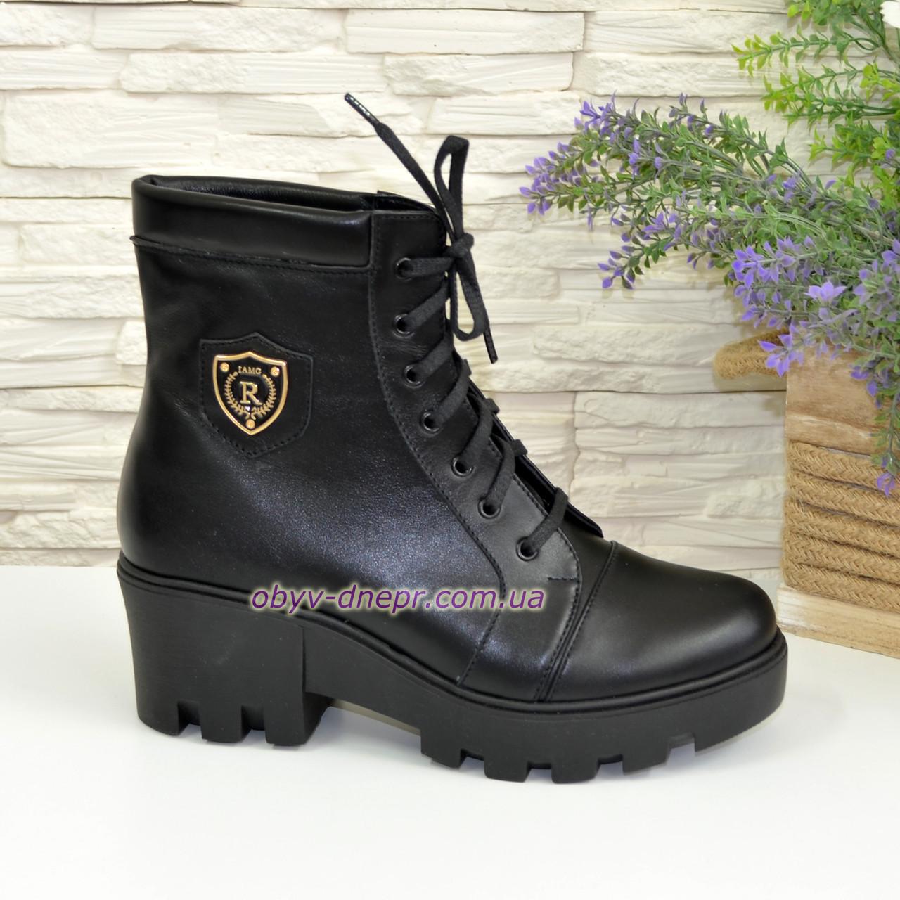 Ботинки женские зимние на утолщенной подошве, цвет черный, фото 1