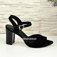 Женские босоножки на высоком каблуке, натуральный замш черного цвета, фото 1
