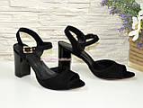 Женские босоножки на высоком каблуке, натуральный замш черного цвета, фото 2