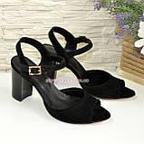 Женские босоножки на высоком каблуке, натуральный замш черного цвета, фото 4