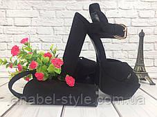 Босоножки замшевые на высоком толстом каблуке черного цвета открытая пятка Код 1636, фото 3