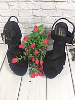 Босоножки замшевые на высоком толстом каблуке черного цвета открытая пятка Код 1636, фото 2