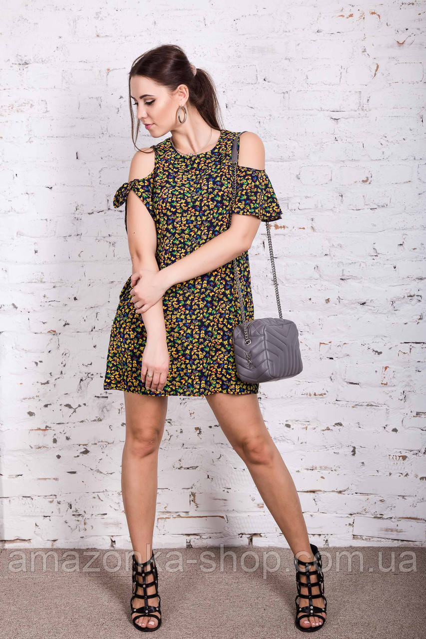 Женское пляжное платье в цветок модель 2018 - Код пл-261