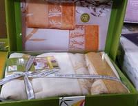 """Турецкие качественные полотенца """"Голд"""", бамбук, велюр, 140х70см.-1, 50х90см.-1, 676/577 (цена за 1 наб.+99гр.)"""