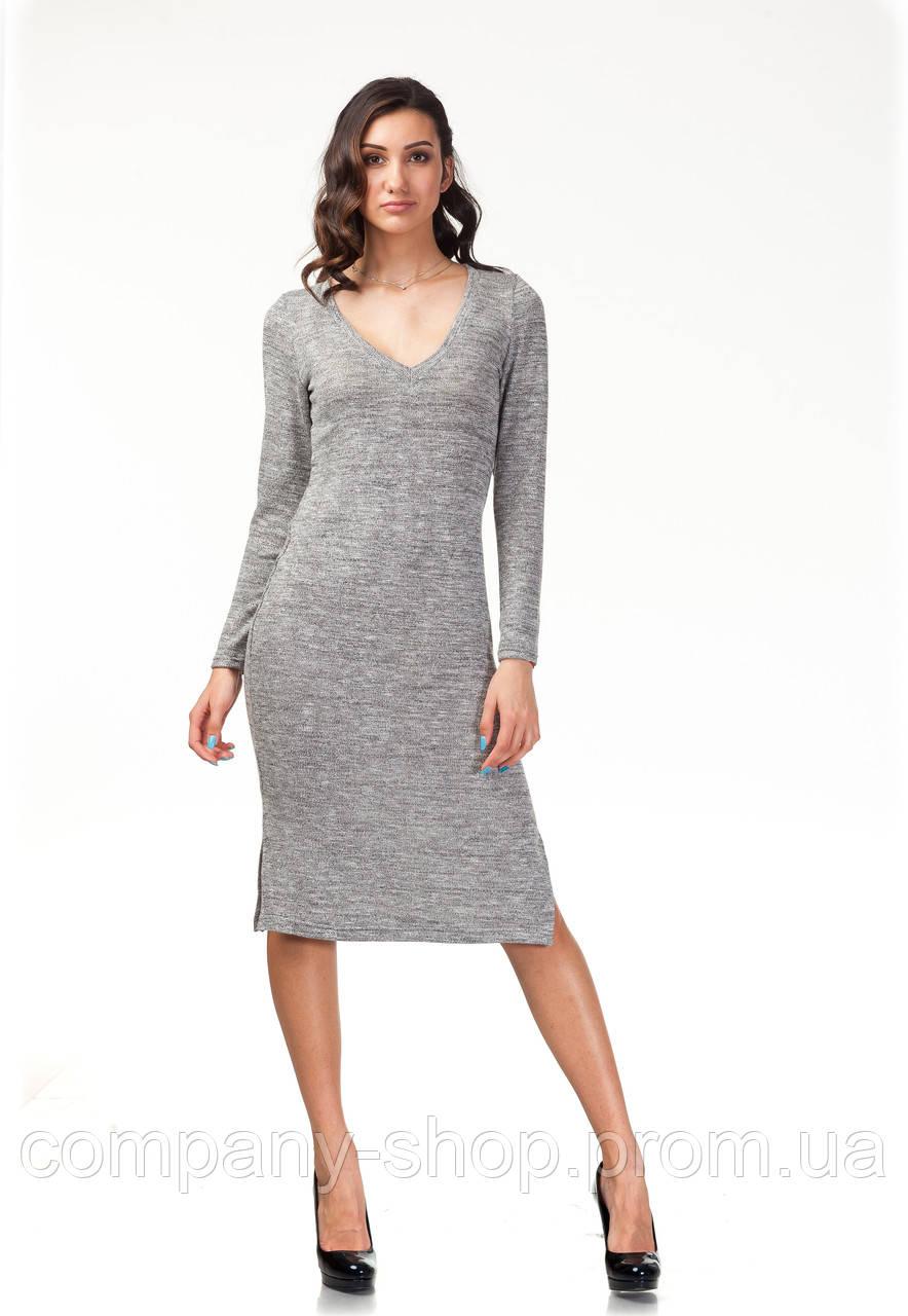 Платье трикотажное длинное. Модель П17_серый трикотаж.