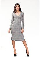 Платье трикотажное длинное. Модель П17_серый трикотаж., фото 1