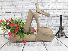 Босоножки замшевые на толстом каблуке бежевого цвета открыты носок и пятка Код 1641, фото 3