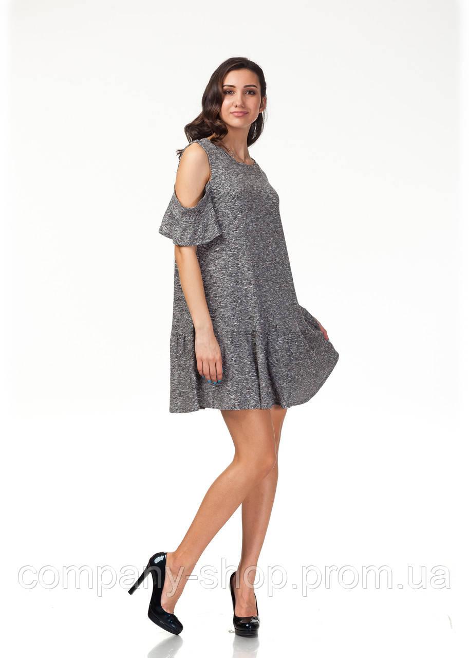 Платье трикотажное длинное. Модель П118_черный трикотаж.