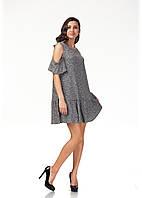 Платье трикотажное длинное. Модель П118_черный трикотаж., фото 1