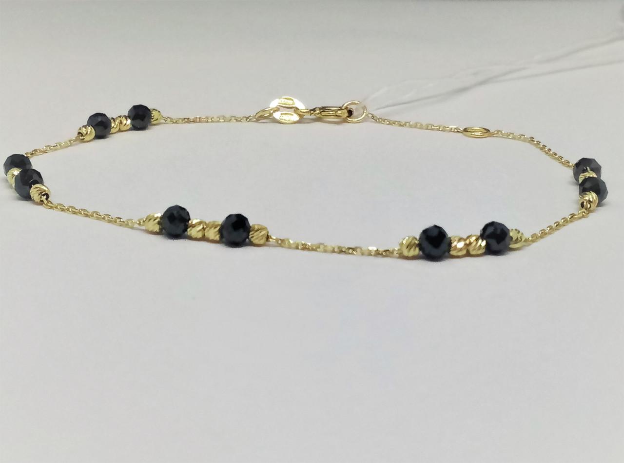 Золотой браслет (Якорное) с ониксом. Артикул 323258ЖО