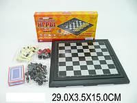 Шахматы магнитные, 4-в-1 (шахматы, шашки, нарды, карты), в коробке 29х3х15