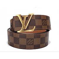 Ремень кожаный Louis Vuitton коричневый с золотой пряжкой
