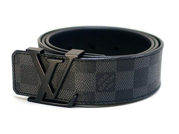 Ремень кожаный Louis Vuitton черный с черной пряжкой