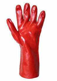 Робочі рукавички з ПВХ червоного кольору на основі. Довжина 35 см., PVC7560-R