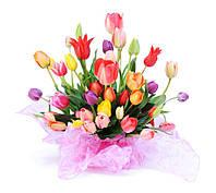 Фотообои тюльпаны корзина